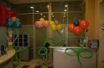 украшение кабинета шарами. цветок надутый гелием