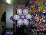 4 снежинка из фиолетовых шаров