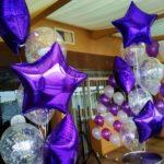 фонтаны из шаров надутых гелием, прозрачные шары с конфетти, звездым 45см - 85грн/шт.