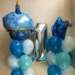 шарики на 1 года, шарик торт с надписью с днем рождения