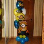 шарики из фольги круглые с Миньонами 45см - 90грн/шт., фигура Миньона гелий 190грн, воздух 70грн/шт.