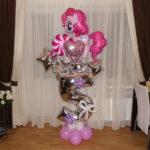 шарики из фольги, литл понни 150грн, звезда, сердце 65грн, цифра надутая воздухом на подставке с цветами 230грн