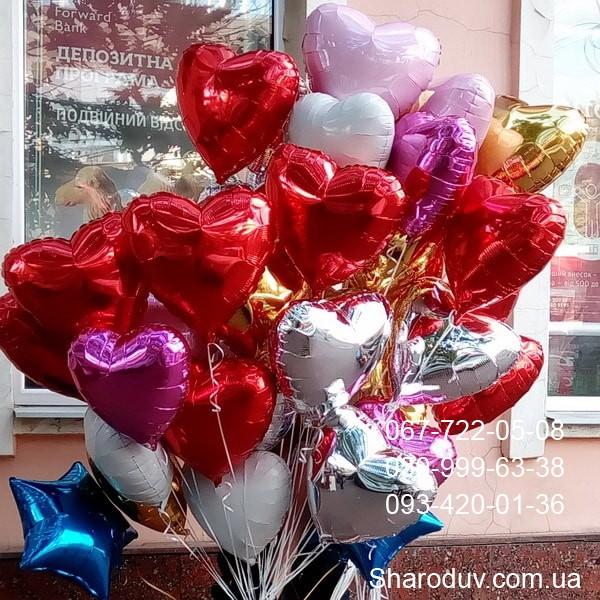 шарики из фольги в форме сердца разных цветов 45см - 55грн/шт.