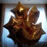 шары в форме звезд, размер 80см, цвет золото