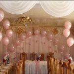 свадебное оформление зала шарами, арка из прозрачных шаров шар в шаре, фонтаны из шаров