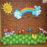 фигуры из шаров солнце, радуга, тучки, травка с цветами