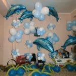 украшение из шаров на Д.Р. в морской тематике