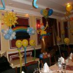 украшение зала шарами для детского дня рождения, солнце, радуга, тучки, шарики смайлы на ножках, гелевые шарики под потолком с хвостиками