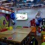украшение зала шарами мальчику 4 года, цирфы, звезды, шарики под потолком