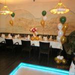 украшение зала шарами, фонтаны на пол из гелиевых шаров, маленькая цифра один