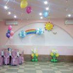 украшение зала шарами на детское день рождение, солндце, радуга, тучки, гелевые шары