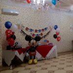 украшение зала шарами, ходячка Микки маус, гелевые шарики