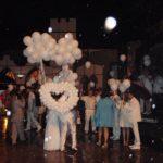 запус сердца из шаров в небо в конце свадьбы