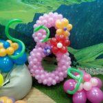розовая цифра 8 из воздушных шаров, высота 120см, 250грн/шт.
