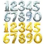 Итальянские шары цифры из фольги, высота 1 метр, цвет золото, серебро, синий, малиновый. Цена 325грн/шт