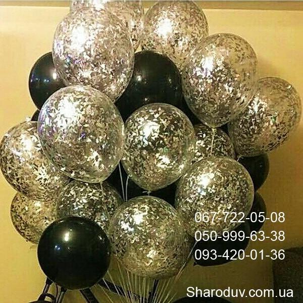 микс из черных и прозрачных шаров с серебрянной фольгой