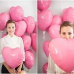 шарик сердце с гелием 45 см