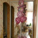 композиция из шаров, медведь, гелиевые шарики в горох с надписью С ДНЕМ РОЖДЕНИЯ