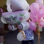 встреча с шарами в роддоме, коляска 200грн, розовые перламутровые шары 36грн