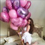 шарики в форме сердца розовые, сиреневые
