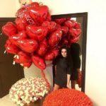 шарики в форме сердец красные, 45см