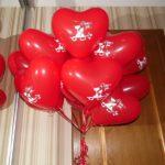 шарики в форме сердца с рисунком кошки