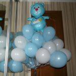 шарики на выписку новорожденный мальчик, медвежонок голубой, шарики белые, голубые