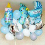 шарики для встречи в роддоме, новорожденный мальчик, бутылочка 200грн, стопа (ножка) 240грн, коляска 200грн