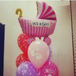 новорожденная девочка, розовая коляска 200грн/шт., шарики с надписью с рождением малыша 38грн/шт.