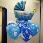 связка шаров роддом коляска 200грн, шарики с надписью с рождением малыша 38грн/шт.