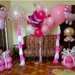 украшение шарами комнаты новорожденной девочки