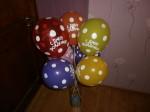 3 гелевые шары воздушные с надписью с днем рождения в горох
