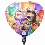 14 сердце с гелием Маша и медведь