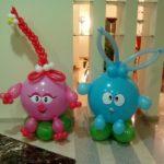 фигуры из воздушных шаров смешарики свинка Нюша, зайчик Крош, 500грн/шт.
