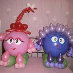 фигуры из воздушных шаров свинка Нюша и Ежик, 500грн/шт.