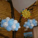 украшение дома шарами на детский праздник, солнце, тучки