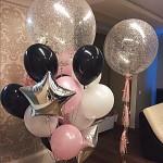 микс из шаров, большие прозрачные шары с серебрянной фольгой, гелевые шарики белого, розового, черного цветов
